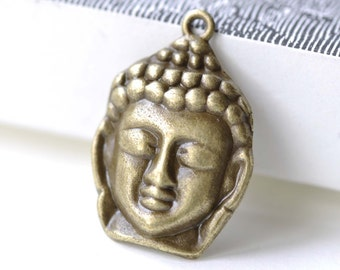 Buddha Head Charms Antique Bronze Religious Charms 20x30mm Set of 10 A8134
