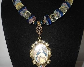St.Theresa Handmade Pendant Blue Glass Chrysoberil Necklace*****.