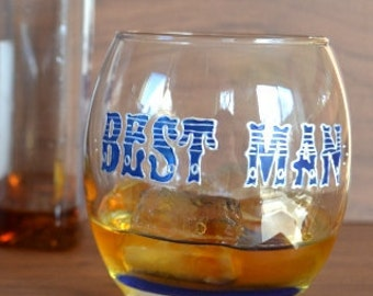 Best Man gift - Whisky glass, personalised glass, Whiskey glass, Hand Painted Glasses,