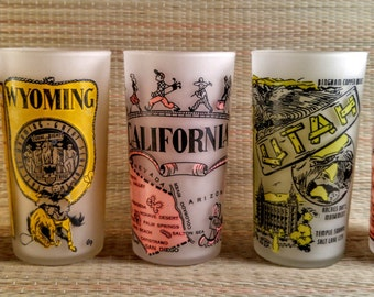 Vintage Hazel Atlas Pink and Yellow Frosted State Souvenir Tumbler Drinking Glasses. California, Idaho, Nevada, Utah, and Wyoming.