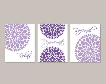 Floral Bathroom Wall Art, Prints Or Canvas, Relax Rejuvenate Refresh, Purple Gray Bathroom Decor, Bathroom Picture, Set of 3