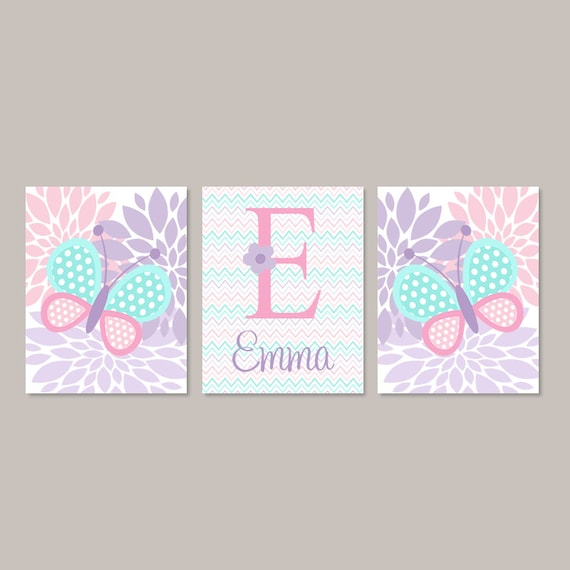 Nursery Wall Decor Butterflies : Baby girl nursery decor butterfly wall art pink aqua lavender