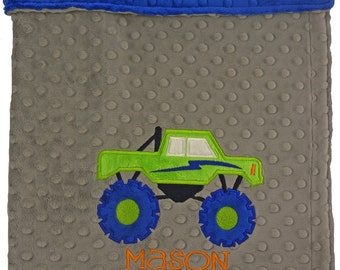 Personalized Baby Blanket-Monster Truck Minky Baby blanket- Gray & Blue Truck Minky Blanket