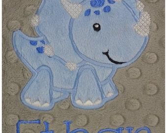 Personalized Baby Blanket, Dinosaur Baby Boy, Custom Minky Blanket