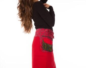 SUPER SALE-Velvet Free Size Reversible Cotton Knee Length Skirt  Green Blue Red Print