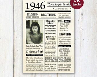 Personalized 70th birthday poster - Custom 70th Birthday Gift for husband wife - What happened 1946 in UK - DIGITAL FILE!
