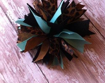 Leopard Pom Pom Hair Bow