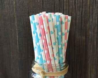 100  Light Blue and Pink Hearts Paper Straws- Valentine, Baby Shower, Party Supply