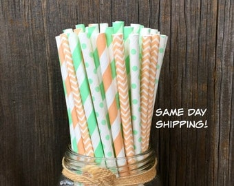 100  Peach and Mint Green Chevron, Stripe and Polka Dot Paper Straws - Birthday, Wedding or Baby Shower Supply, Free Shipping!