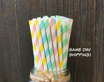 100 Pink, Blue, Yellow and Mint Stripe Straws, Baby or Bridal Shower, Birthday Supply, Free Shipping!