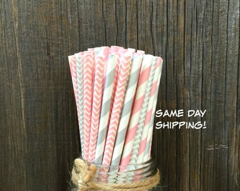 Pink Paper Straws, 100 Silver Straws, Silver Chevron, Birthday Party, Shower, Wedding Supply,  Free Shipping
