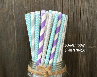 Lilac Straws, 100 Paper Straws, Silver Stripe Straws, Light Blue Straws, Birthday Supply, Wedding Straws, Free Shipping