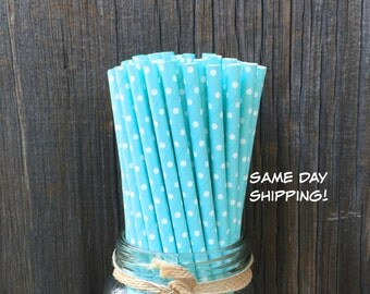 100 Light Blue with White Dot Straws, Baby Shower, Wedding, Birthday Supply, Free Shipping!