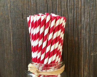 100 Brick Red Paper Straws, Holiday Straws, Christmas, Birthday, Team Party, Free Shipping!