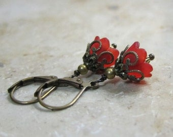 Small flowers earrings red bronze vintage style