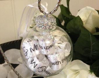 Wedding Ring - Wedding Ornament - Mr and Mrs Ornament - Wedding Anniversary Gift - Bride and Groom Gift - Mr and Mrs Gifts - Glass Ornaments