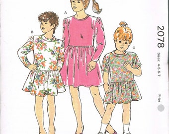 Size 4-7 Girls' Dress Sewing Pattern - Knee Length Dress With Gathered Skirt - Sewing For Girls - Kwik Sew 2078