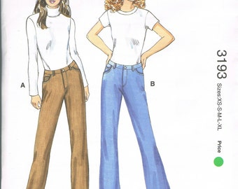 UNCUT Size XS-XL Misses' Mid Rise Straight Leg Or Boot Cut Jeans Sewing Pattern - Kwik Sew 3193