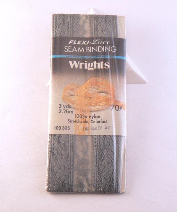 Dark Grey Wrights Vintage Flexi-Lace Stretchable Seam Binding