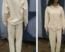 Sale 1990s Yellow Pants and Blouse Waffle Pattern//Elastic Waist Pants//SK Sport//Size Medium//Leisure Wear Women//Hippie Hipster Gypsy