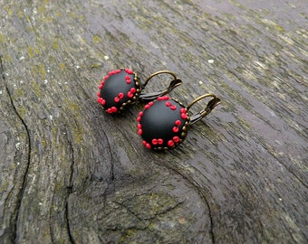 Black and Red Filigree Earrings made from Polymer clay
