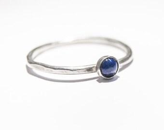Handmade Lapis Lazuli ring, sterling silver, stacking ring, blue ring, January birthstone, 4mm gemstone, skinny ring