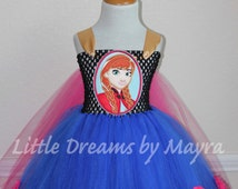Princess Anna inspired tutu dress with logo and matching hair piece, Frozen inspired birthday costume size nb to 12years