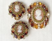 Cameo Set - SIGNED HOBE made by D and E - Crystal Rhinestone Brooch & Earrings Demi Parure Set - Rare and Gorgeous - Perfect Fall Colors!