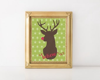 Christmas Printable - Reindeer Art - Holiday Print - Christmas Art Prints - Christmas Decor - Christmas Artwork - Holiday Art