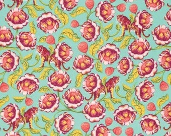 Tula Pink Fabric, Tula Pink Eden - Tiger Lotus - Eden Collection - for Free Spirit PWTP071 Tomato - Priced by the Half yard