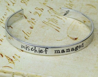Mischief Managed - Aluminum Copper or Brass Bracelet