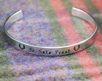 Je Suis Prest Cuff Bracelet - Aluminum Brass or Copper Bangle