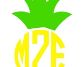 PINEAPPLE MONOGRAM DECAL, Personalized Pineapple, Pineapple Sticker, Birthday Party Favor, Fruit Decal, Tropical Decal , Monogram Pineapple
