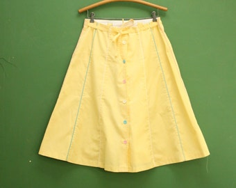 Vintage Yellow Pastel A Line Skirt/ Women's Size Medium/Large  [Retro Mod Button Front Long Maxi a-line Full Skirt] 32 inch waist
