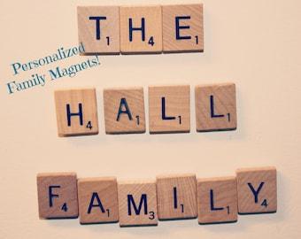 Custom Family Magnets, Family Magnets, Personalized Family Magnets, Family Magnet Set, Family, Magnets, Scrabble Magnets, Scrabble Tile