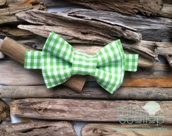 SALE! Boys Toddler Green Gingham Bow Tie, Infant Bow Tie, Baby Green Gingham Bow Tie, Child Green Bow Tie, Children's Bow Tie, Boys Bow Tie