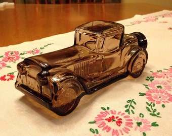 Vintage Brown Glass Avon Sterling Six Car Collectable