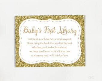 Gold Glitter Bring a book instead of a card, Book Request Card,  Baby Shower Invitation Insert Enclosure, Baby's First Library