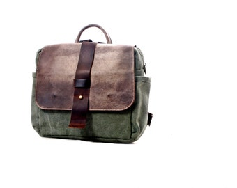 Trail Camera  Backpack / Camera Bag /  Faded Leather and Canvas Backpack -  /SLR/ For Her / For Him/Camera Backpack Convertible + Insert