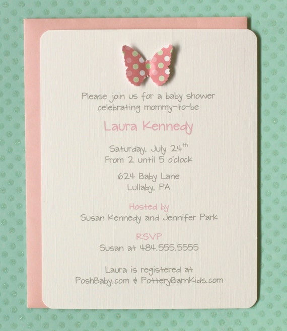pink and green polka dot 3d butterfly baby shower invitations polka