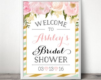 Custom Bridal Shower Welcome Sign - Wedding Shower Welcome Sign - Bridal Shower - Baby Shower Welcome Sign - Mint and Gold - DIGITAL FILE