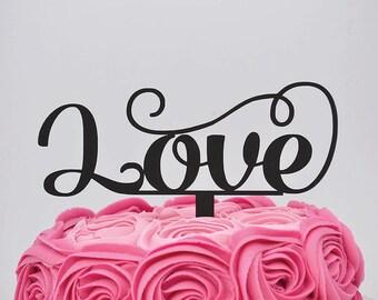 Glitter Love Wedding Cake Topper