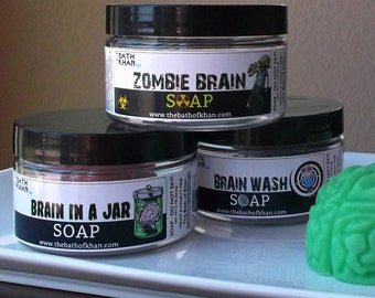 Mad Scientist Party - Brain in a Jar, Mad Scientist, Science Party, Brain Soap, Zombie Party, Stocking Stuffer, Halloween Soap