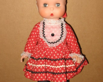 Small Stuff Doll - Jolly Toys - Vintage 1960s Doll - All Original - Pouty Face Vinyl Toddler Doll 15""