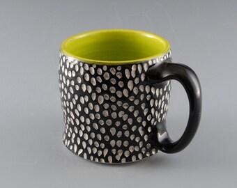 Black and Chartreuse Sgraffito Dots Mug