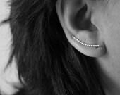 Ear Climber - Beaded Ear Climber - Ear Cuff - Ear Crawler - Sterling Silver Ear Climber -  Minimalist Earring
