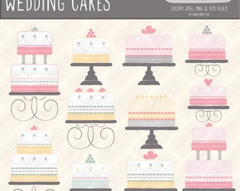 Wedding celebration cakes, hand drawn vector graphics, royalty free, commercial use. Instant download.