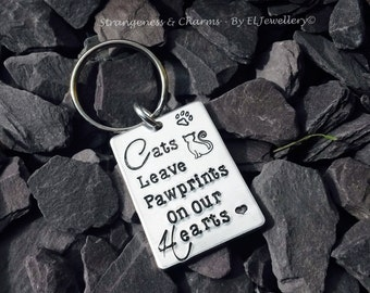 Hand Stamped 'Cats Leave Pawprints On Our Hearts' Aluminium Keyring, Kitty, Animal Lovers, Pets, Cat Owners, Cat Lovers, Pawprints, Unique