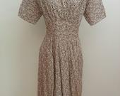 """NOS 1930s/1940s Green Print Dress - German - 29"""" Waist"""