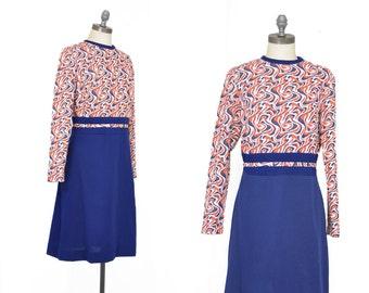 vintage 1960s mod dress | orange + blue dress | vintage mini dress | 60s bleeker street dress | retro 60s long sleeve dress